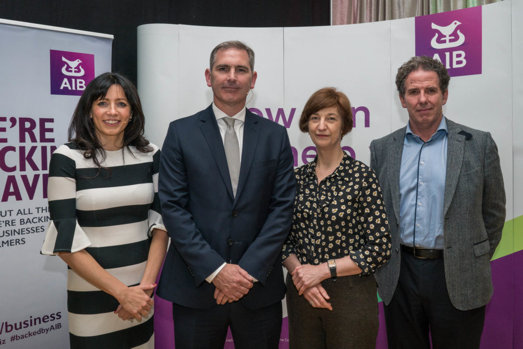25/09/2017 Photographed at the Spirit of Change Seminar at GMIT Mayo Campus Castlebar were from left to right Yvonne Holmes, Head of Business Performance & Analytics, AIB; Willie Ruane, Chief Executive Officer, Connacht Rugby; Fiona Slevin, Chief Operating Officer, ORRECO; and Dr. Mark White, Manager, Marine Development Team, Marine Ireland. Photo : Keith Heneghan / Phocus